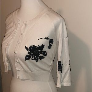 ZARA Knit Floral Black White Cropped Cardigan Sz.S